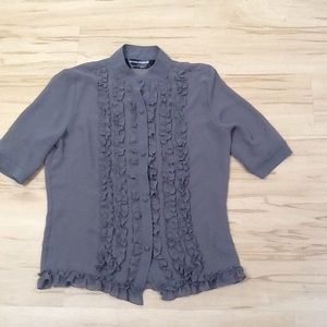 Norma Kamali Sheer Grey Blouse Sz Small